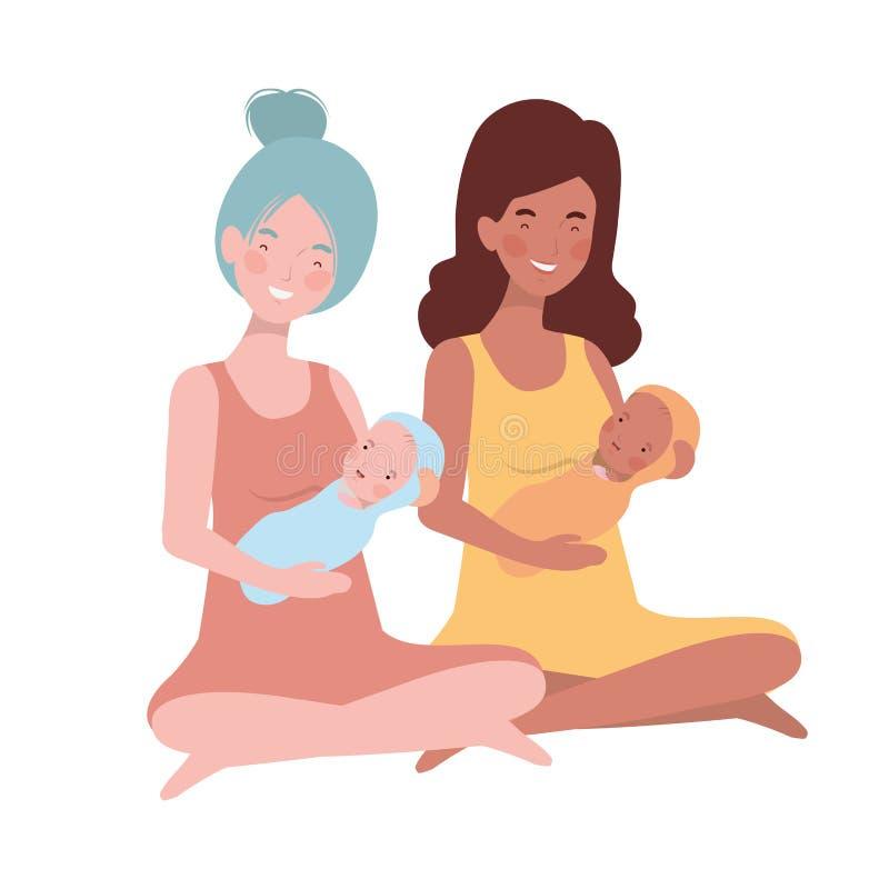 Vrouwen met een pasgeboren baby in haar wapens royalty-vrije illustratie