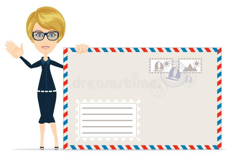 Vrouwen met enveloppen stock illustratie