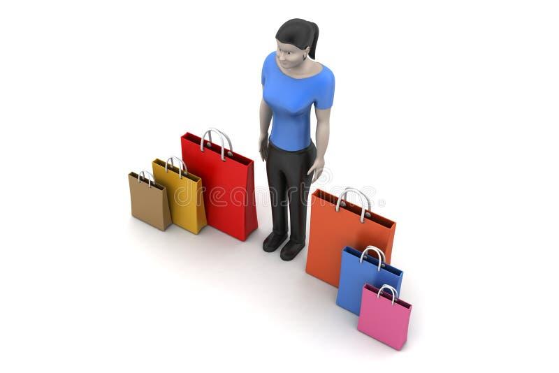 Vrouwen met het winkelen zak vector illustratie