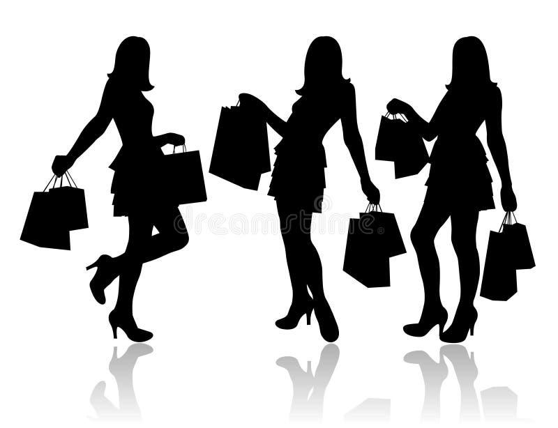 Vrouwen met het winkelen zakken stock illustratie
