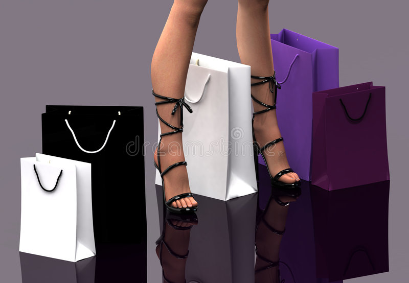 Vrouwen met het winkelen zakken royalty-vrije illustratie