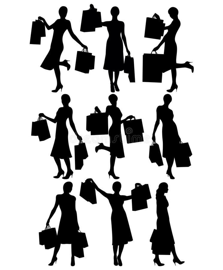 Vrouwen met het winkelen zakken vector illustratie