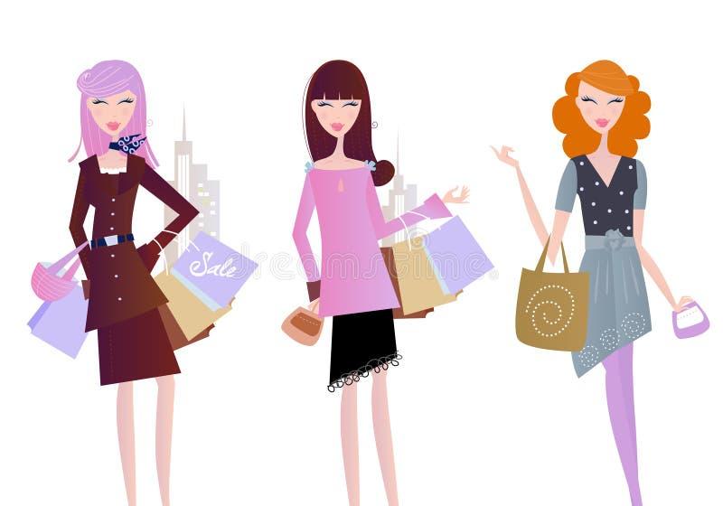 Vrouwen met het winkelen zakken die op wit worden geïsoleerde stock illustratie