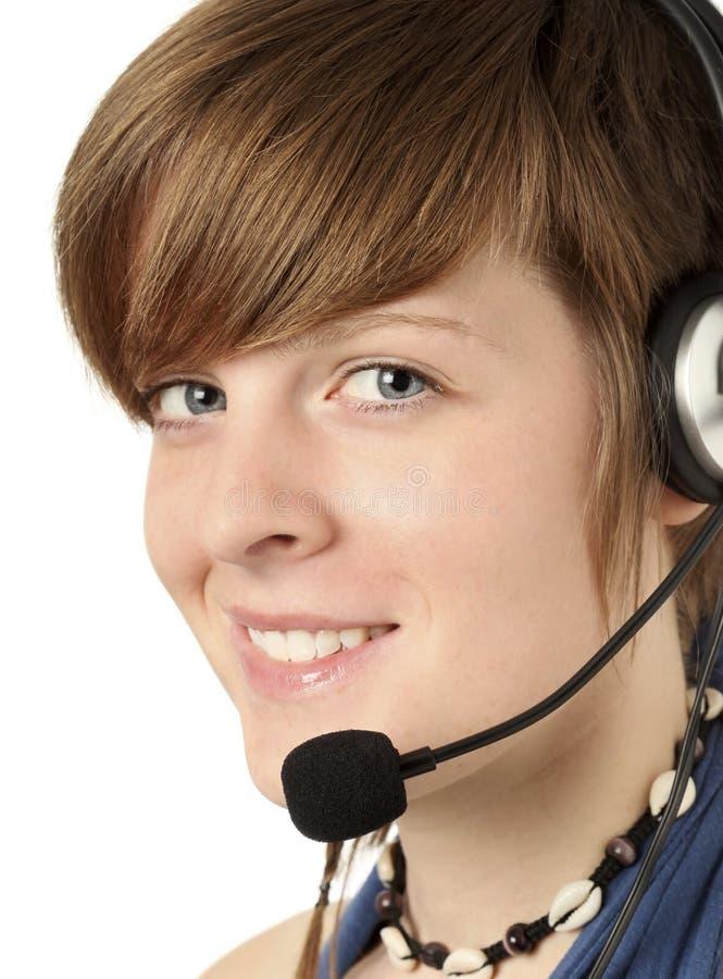 Vrouwen met hoofdtelefoon stock afbeelding