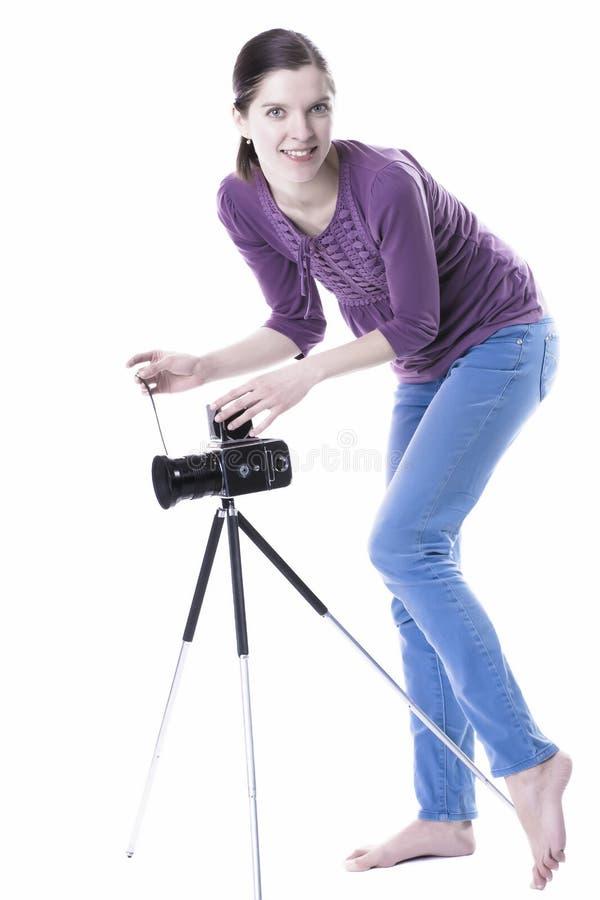Vrouwen met oude camera stock foto's