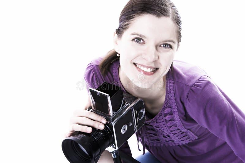 Vrouwen met oude camera royalty-vrije stock foto