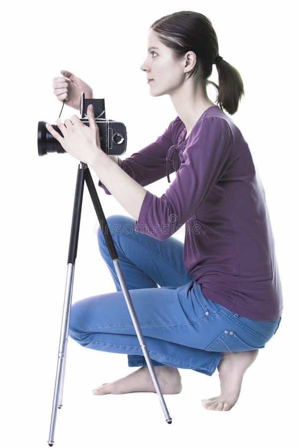 Vrouwen met oude camera royalty-vrije stock afbeelding