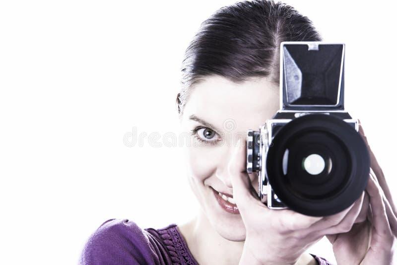 Vrouwen met oude camera stock fotografie