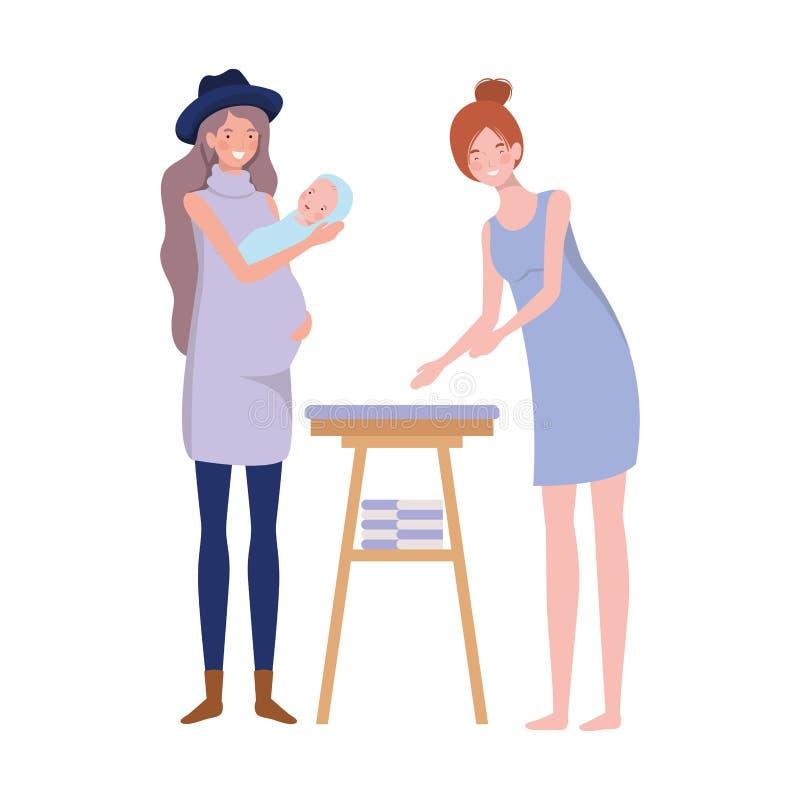 Vrouwen met pasgeboren baby in luier het veranderen stock illustratie