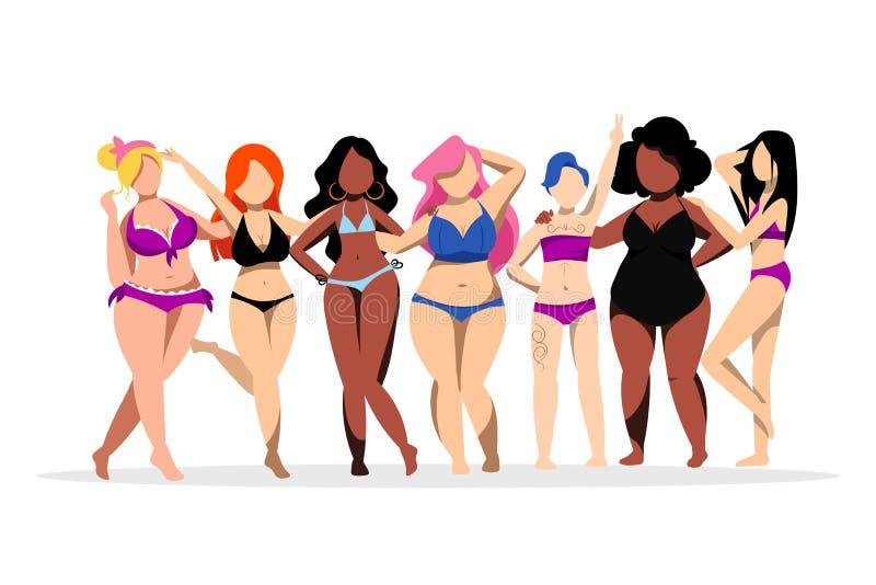 Vrouwen met verschillende cijfers, huidkleuren Lichaams positief concept Vector vlakke illustratie Plus groottemeisjes in bikini stock illustratie