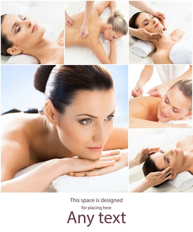 Vrouwen met verschillende soorten massage Collage van spa-, wellness-, gezondheidszorg- en aromatherapie Gezondheid, recreatie en royalty-vrije stock afbeeldingen