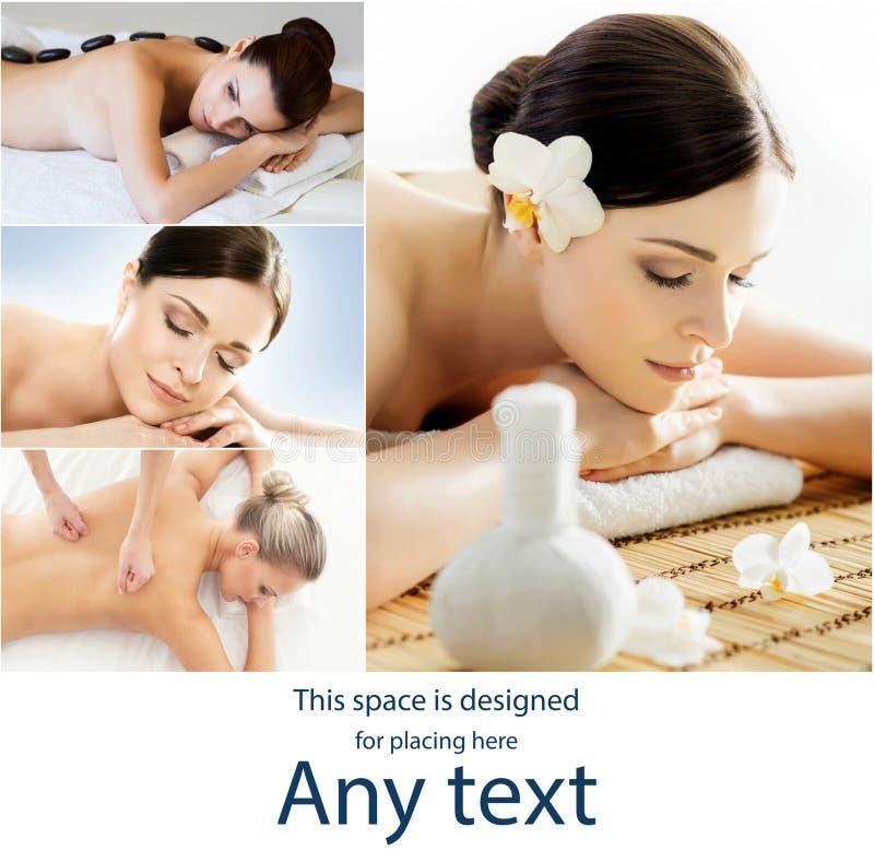 Vrouwen met verschillende soorten massage Collage van spa-, wellness-, gezondheidszorg- en aromatherapie Gezondheid, recreatie en stock afbeeldingen