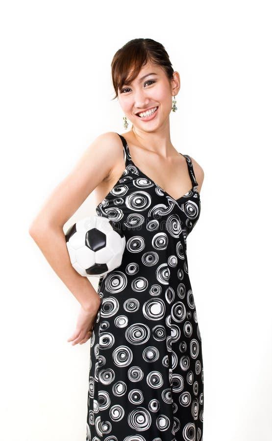Vrouwen met voetbal royalty-vrije stock afbeeldingen