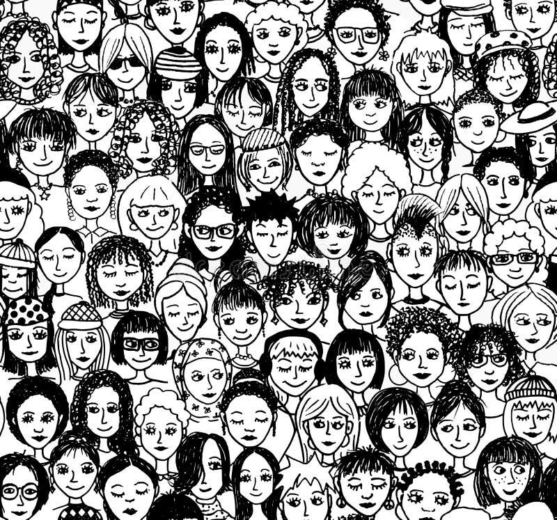 Vrouwen - naadloos patroon stock illustratie