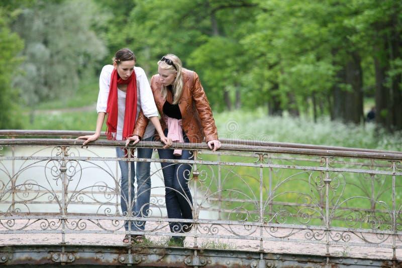 Vrouwen op de brug in park royalty-vrije stock fotografie
