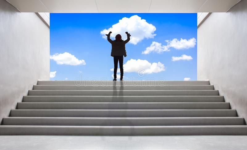 Vrouwen op de ladder aan succes stock foto