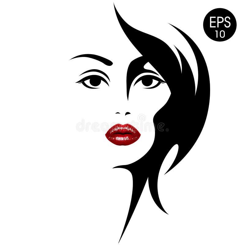 Vrouwen` s gezicht met rode lippen Vector manierillustratie Zwart-wit silhouet vector illustratie