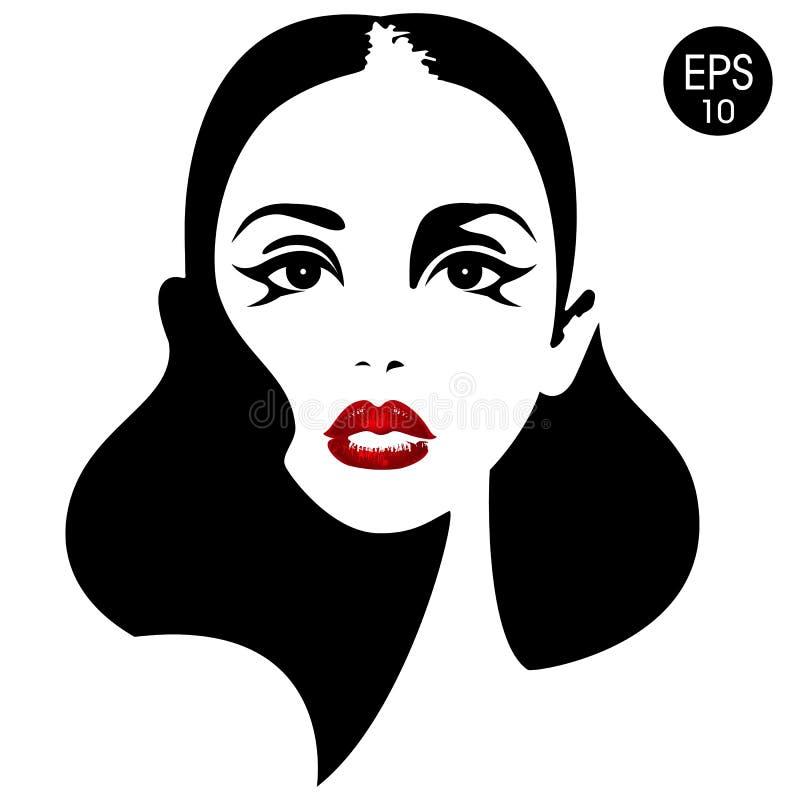 Vrouwen` s gezicht met rode lippen Vector manierillustratie Zwart-wit silhouet royalty-vrije illustratie