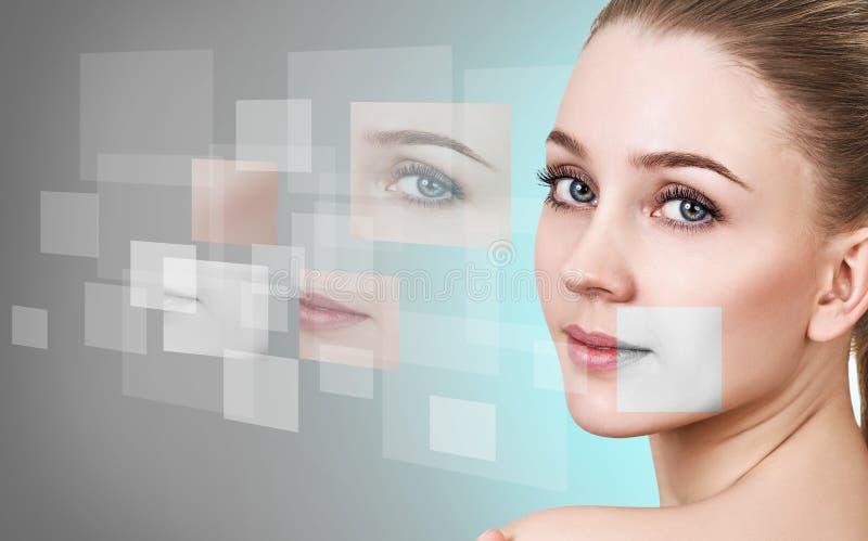 Vrouwen` s gezicht uit verschillende delen wordt bijeengezocht dat stock afbeelding