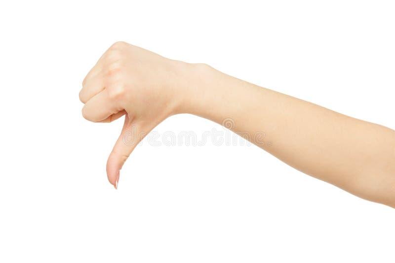 Vrouwen` s hand die duim tonen neer, gewas, knipsel royalty-vrije stock fotografie