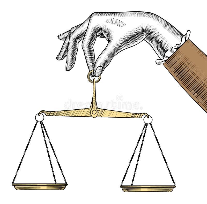 Vrouwen` s hand met oude Gewichtsschalen royalty-vrije illustratie
