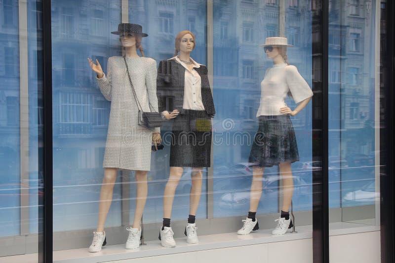 Vrouwen` s ledenpoppen in het venster stock foto