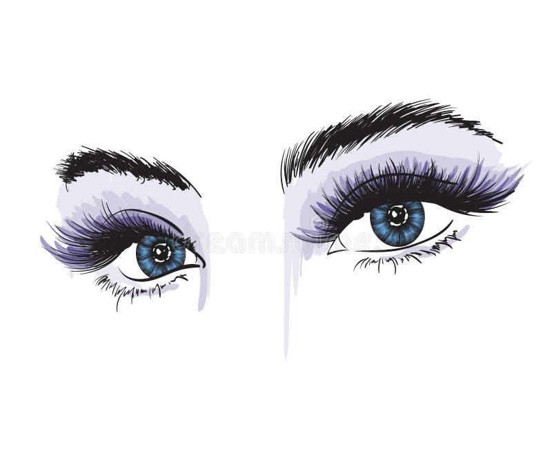 Vrouwen` s luxueus oog met volkomen gestalte gegeven wenkbrauwen en volledige zwepen vector illustratie