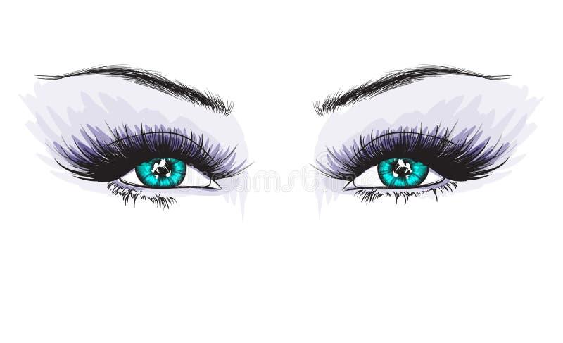 Vrouwen` s luxueus oog met volkomen gestalte gegeven wenkbrauwen en volledige zwepen royalty-vrije illustratie