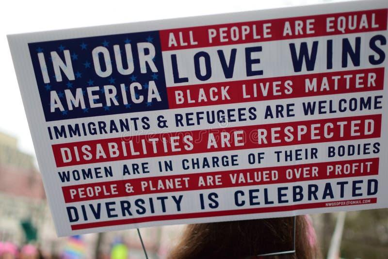 Vrouwen ` s Maart 2017: Affiche over Liefde, Gelijkheid, en Diversiteitsopneming stock foto