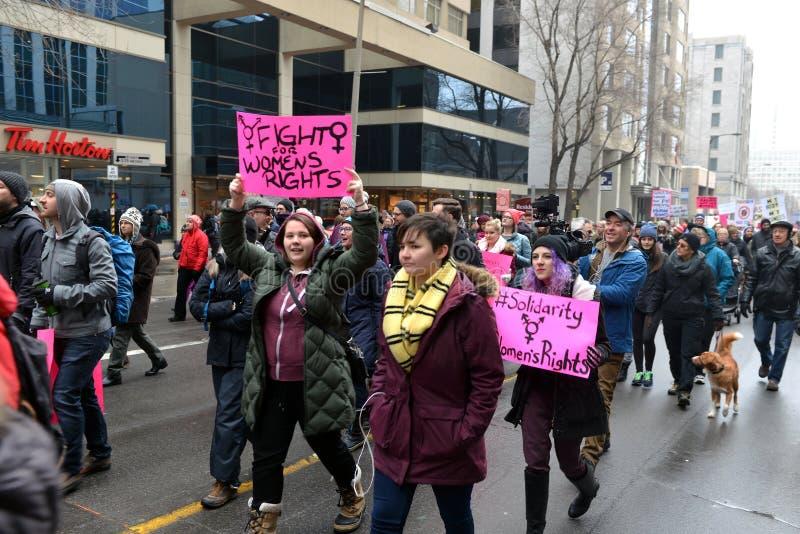 Vrouwen ` s Maart in Ottawa royalty-vrije stock afbeeldingen