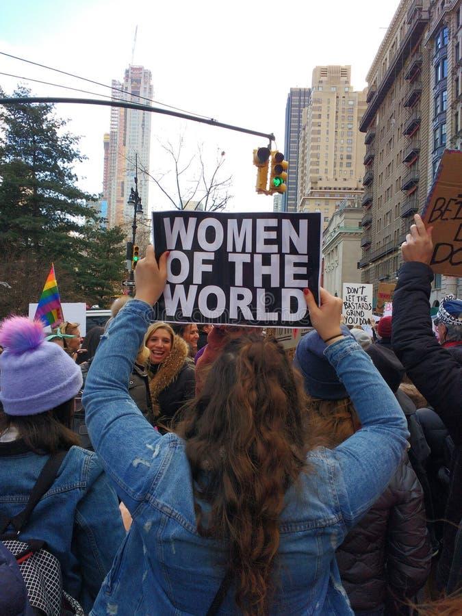 Vrouwen ` s Maart, Vrouwen van de Wereld, NYC, NY, de V.S. royalty-vrije stock fotografie