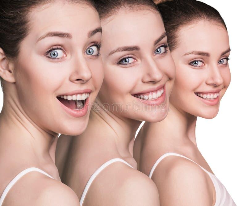 Vrouwen` s mooie gezichten met gezonde huid stock foto