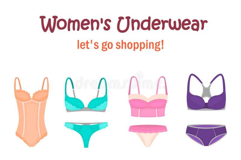 Vrouwen` s ondergoed voor Web en mobiel ontwerp wordt geplaatst dat stock illustratie
