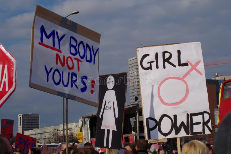 Vrouwen` s rechten in Polen stock foto's