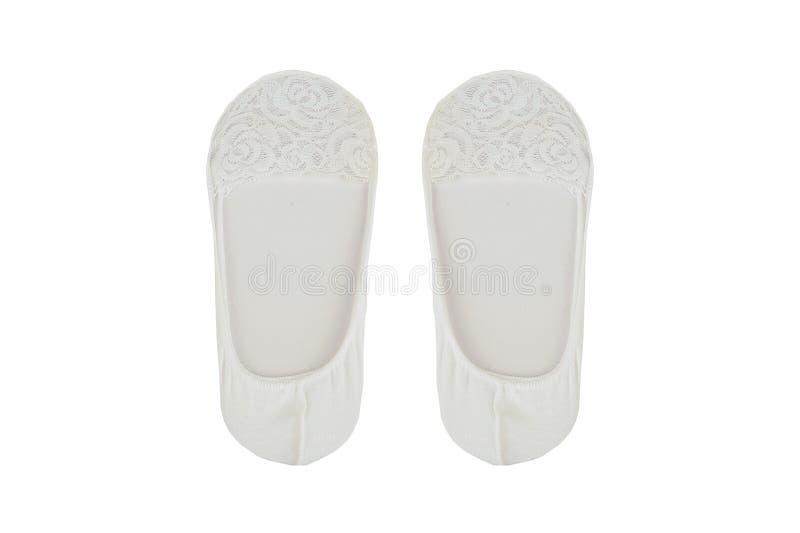Vrouwen` s sokken die op witte achtergrond worden geïsoleerd stock afbeelding