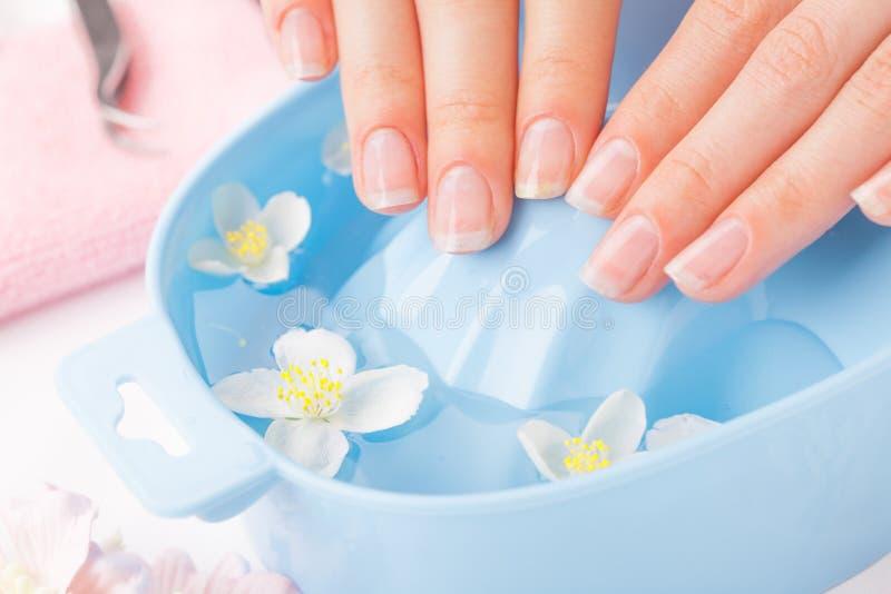 Vrouwen` s spijkers met mooie Franse manicure stock foto's