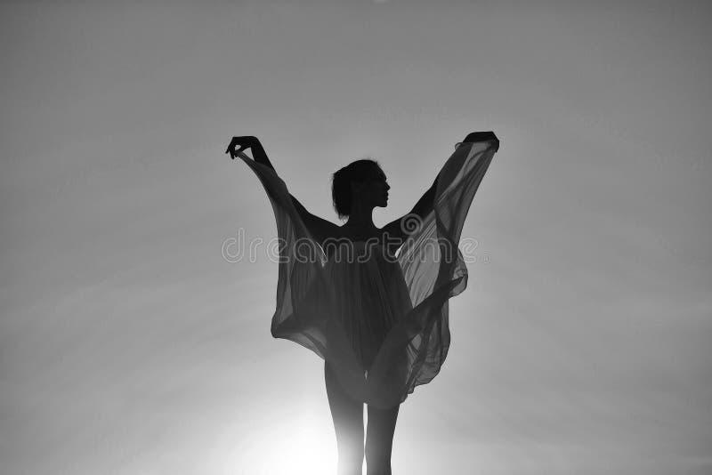 Vrouwen` s tederheid Silhouet van meisje over zonsondergang royalty-vrije stock foto's