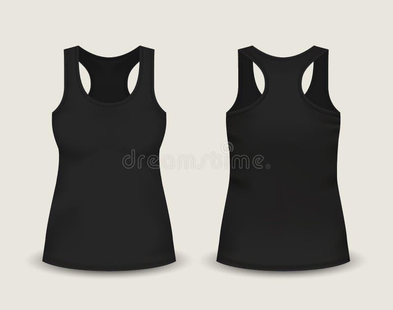 Vrouwen` s zwart sleeveless mouwloos onderhemd in voor en achtermeningen Vectorillustratie met realistisch mannelijk overhemdsmal vector illustratie