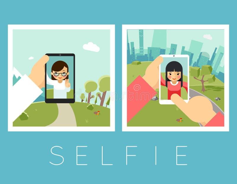 Vrouwen selfie Openlucht en bergenfoto's royalty-vrije illustratie