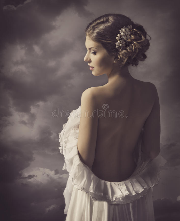 Vrouwen sensueel retro portret, meisjes naakte achter, elegante artistiek stock foto's