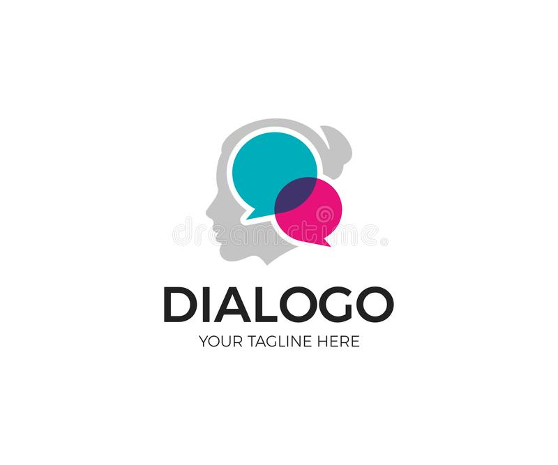 Vrouwen Sociale Mededeling Logo Template Het Vectorontwerp van het meisjespraatje vector illustratie