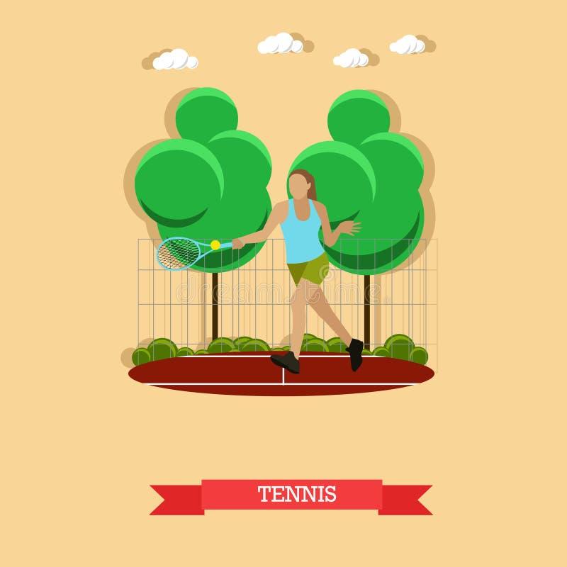 Vrouwen speeltennis op het hof, vlak ontwerp vector illustratie