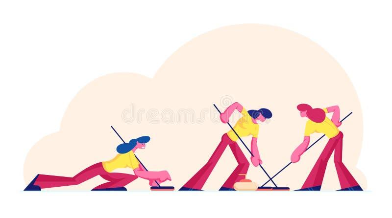 Vrouwen Sportteam dat Curling Game Spel die IJs met speciale borstels speelt en Graniet Stones duwt naar Doel stock illustratie