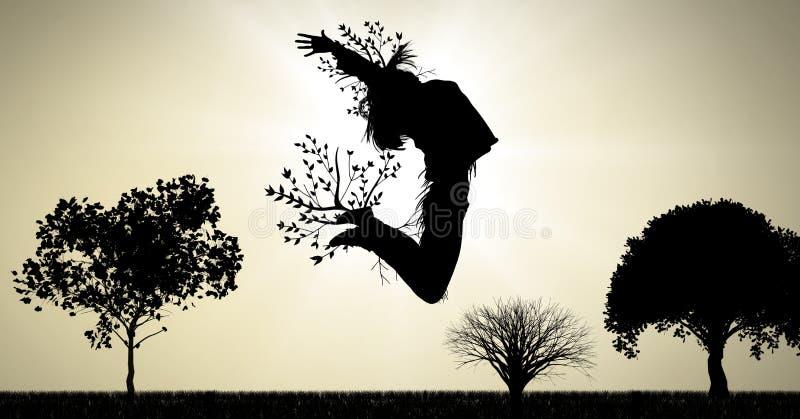 Vrouwen surreal springende die uitdrukking met boomtakken met aard worden verbonden stock illustratie