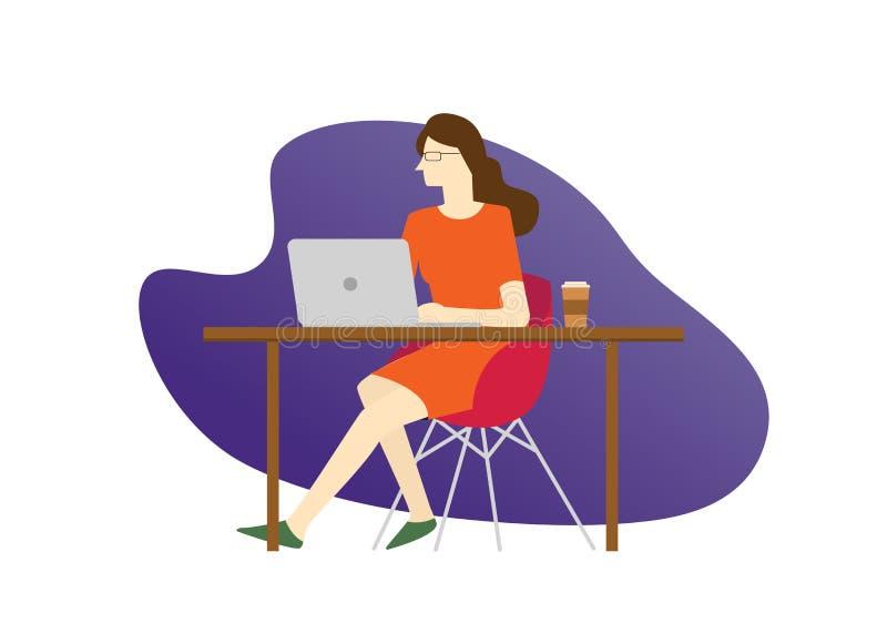 Vrouwen in technologie-bedrijfspersoonszitting op het lijstbureau het denken concentraat in laptop voor programmeur programmering stock illustratie
