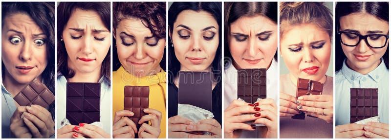 Vrouwen van dieetbeperkingen worden vermoeid die snoepjes naar chocolade hunkeren die royalty-vrije stock afbeelding