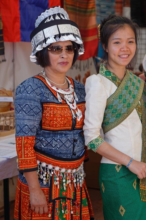 Vrouwen van Laos bij de Feesten Consulaires royalty-vrije stock fotografie