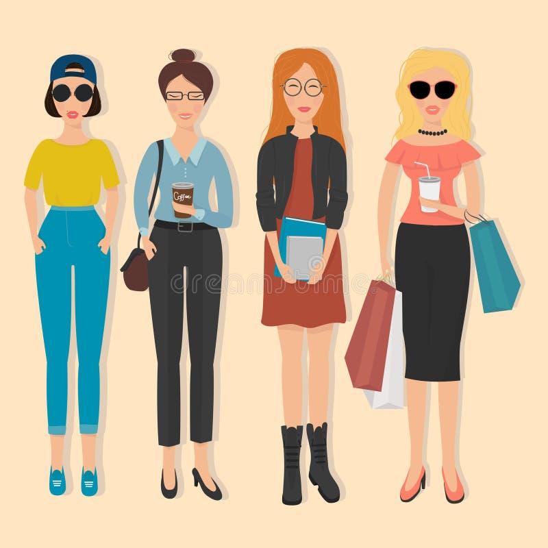 Vrouwen in verschillende modieuze kleren vector illustratie