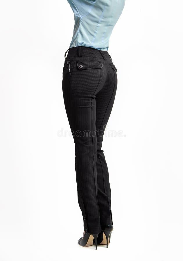 Vrouwen volledige lengte in de schoenen klassieke stijl van broeken hoge hielen royalty-vrije stock foto's