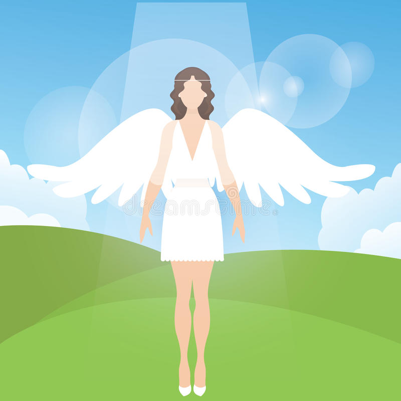 Vrouwen vrouwelijke engel met veervleugels die vectorbeeldverhaalillustratie bevinden zich stock illustratie